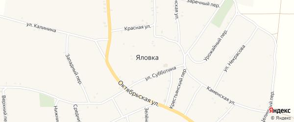 Снежный переулок на карте села Яловки с номерами домов