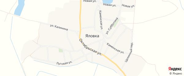 Карта села Яловки в Брянской области с улицами и номерами домов