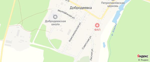 Комсомольская улица на карте села Добродеевки с номерами домов