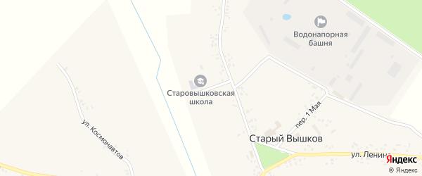 Школьный переулок на карте села Старого Вышкова с номерами домов