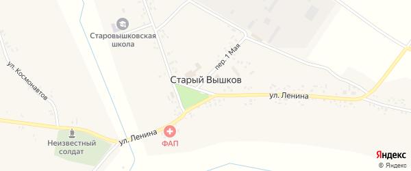 Улица Горького на карте села Старого Вышкова с номерами домов