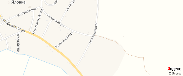 Целинный переулок на карте села Яловки с номерами домов