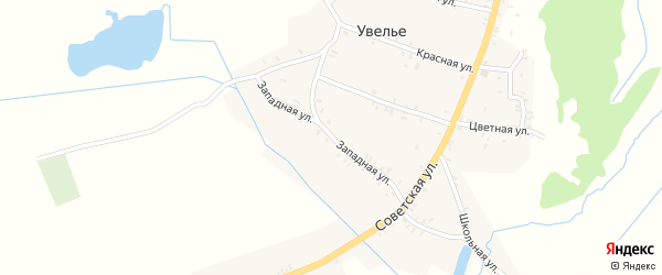 Западная улица на карте села Увелье с номерами домов