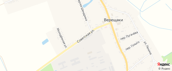 Советская улица на карте села Верещаки с номерами домов