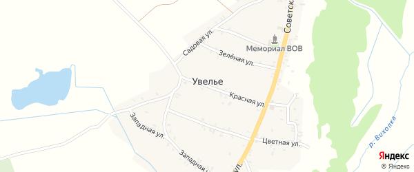 Комсомольская улица на карте села Увелье с номерами домов