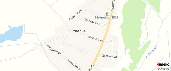 Красная улица на карте села Увелье с номерами домов