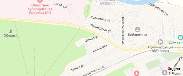 Дачная улица на карте поселка Вышкова с номерами домов