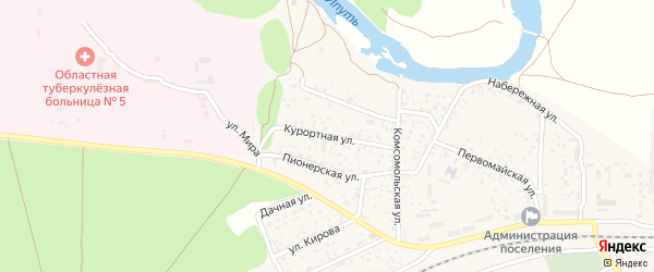 Курортная улица на карте поселка Вышкова с номерами домов