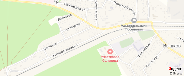 Кооперативная улица на карте поселка Вышкова с номерами домов