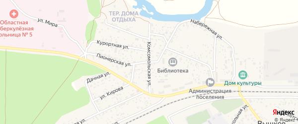 Комсомольская улица на карте поселка Вышкова с номерами домов
