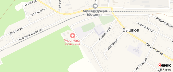 Спортивная улица на карте поселка Вышкова с номерами домов