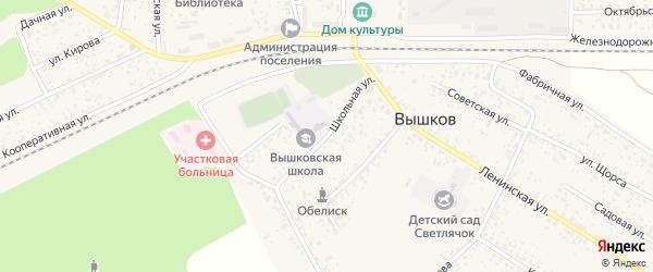 Школьная улица на карте поселка Вышкова с номерами домов