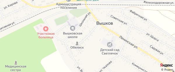 Светлая улица на карте поселка Вышкова с номерами домов