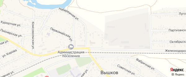 Улица Клубная Площадь на карте поселка Вышкова с номерами домов