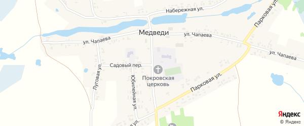 Центральная улица на карте села Медведи с номерами домов