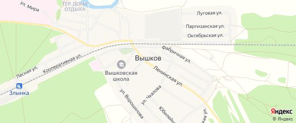 Карта поселка Вышкова в Брянской области с улицами и номерами домов