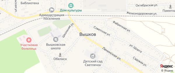 Пионерская улица на карте поселка Вышкова с номерами домов
