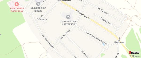 Улица Чкалова на карте поселка Вышкова с номерами домов