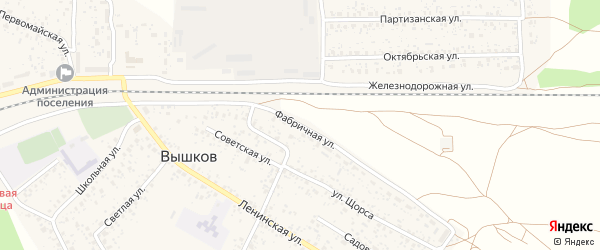 Фабричная улица на карте поселка Вышкова с номерами домов