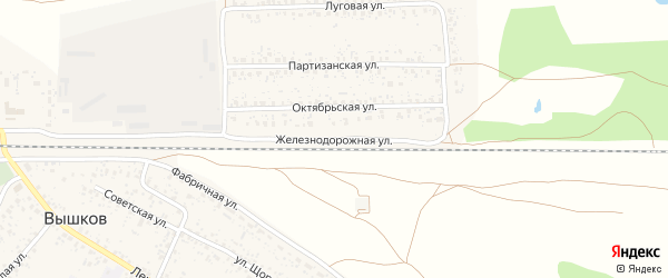 Железнодорожная улица на карте поселка Вышкова с номерами домов