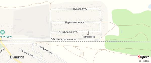 Октябрьская улица на карте поселка Вышкова с номерами домов