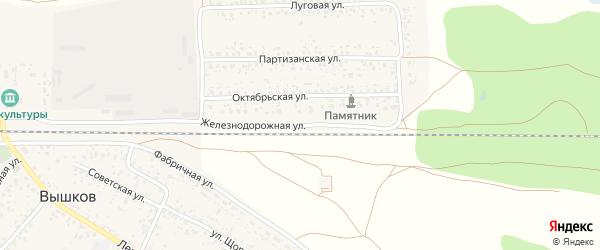 Железнодорожная улица на карте Злынки с номерами домов