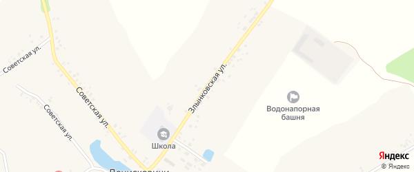 Злынковская улица на карте села Денисковичи с номерами домов