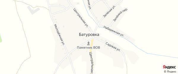 Зеленая улица на карте деревни Батуровки с номерами домов
