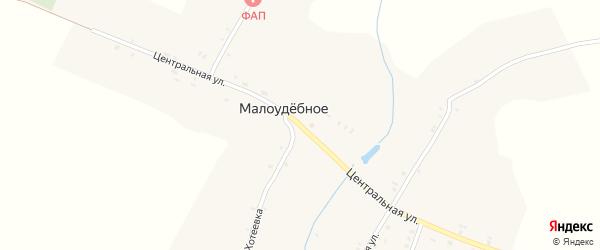 Центральная улица на карте деревни Малоудебного с номерами домов