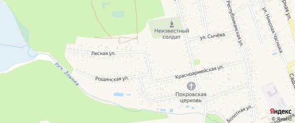 Полевой переулок на карте Злынки с номерами домов