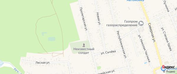 Пролетарская улица на карте Злынки с номерами домов