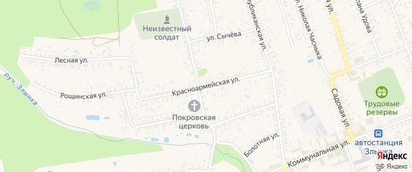 Красноармейская улица на карте Злынки с номерами домов