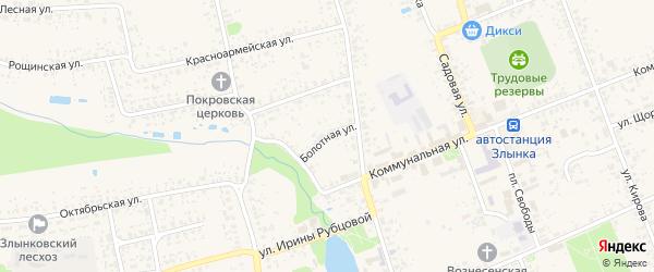 Болотная улица на карте Злынки с номерами домов