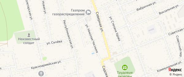 Улица Николая Часныка на карте Злынки с номерами домов