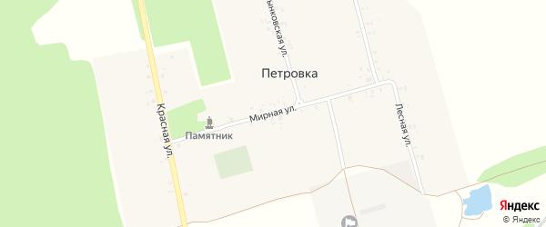 Мирная улица на карте деревни Петровки с номерами домов