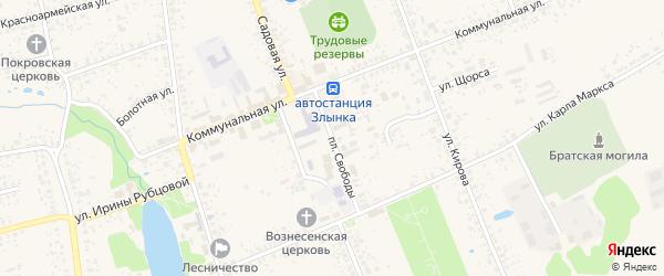 Улица Площадь Свободы на карте Злынки с номерами домов