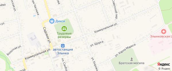 Коммунальная улица на карте Злынки с номерами домов