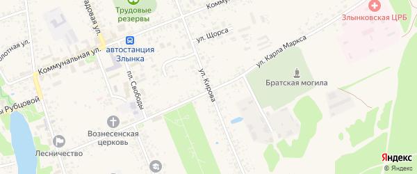Улица Кирова на карте Злынки с номерами домов