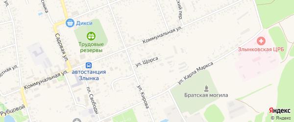 Улица Щорса на карте Злынки с номерами домов
