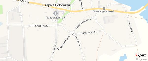 Советский переулок на карте села Старых Бобовичей с номерами домов