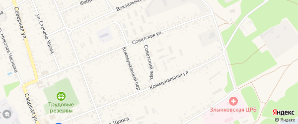 Советский переулок на карте Злынки с номерами домов