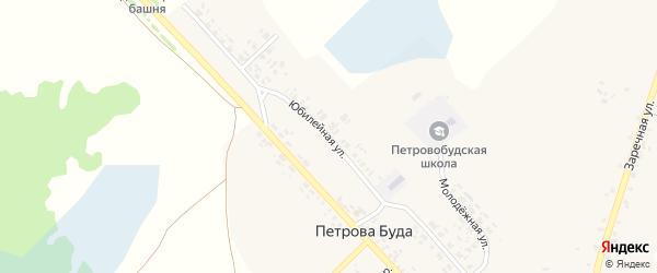 Юбилейная улица на карте села Петровой Буды с номерами домов