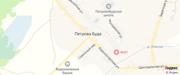 Красногорская улица на карте села Петровой Буды с номерами домов