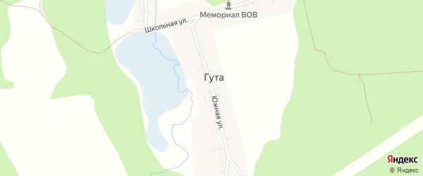 Южная улица на карте деревни Гуты с номерами домов