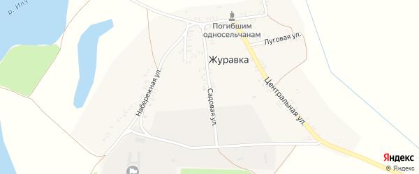 Садовая улица на карте деревни Журавки с номерами домов