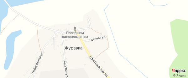 Луговая улица на карте деревни Журавки с номерами домов