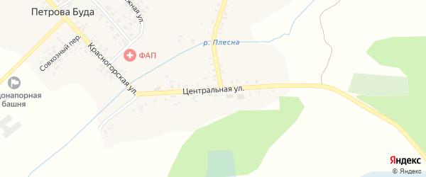 Центральная улица на карте села Петровой Буды с номерами домов