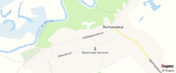 Набережная улица на карте деревни Антоновки с номерами домов