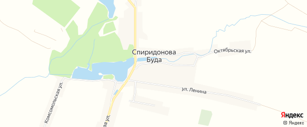 Карта села Спиридоновой Буды в Брянской области с улицами и номерами домов