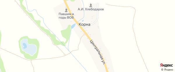 Центральная улица на карте поселка Карны с номерами домов